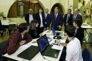 "Mayor Taron Margaryan watches the process of ""Climathon Yerevan"" hackathon held in Yerevan for the first time"